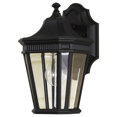 Feiss Lighting Outdoor Wall Light with Clear Glass in Black Finish OL5400BK