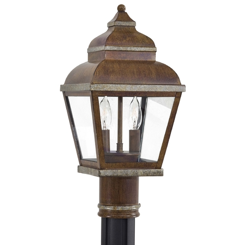 Minka Lavery Post Light with Clear Glass in Mossoro Walnut W/silver Highlights Finish 8266-161