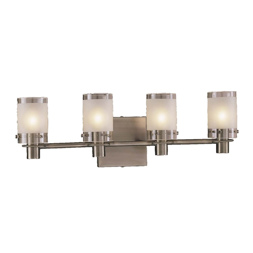 George Kovacs Lighting Modern Bathroom Light with White Glass in Antique Nickel Finish P5004-056