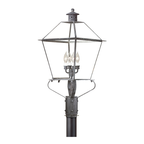 Troy Lighting Post Light with Clear Glass in Natural Aged Brass Finish PCD9141NAB