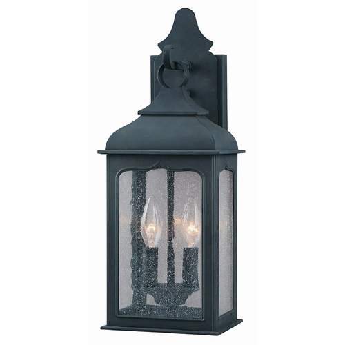Troy Lighting Outdoor Wall Light with Clear Glass in Colonial Iron Finish B2011CI