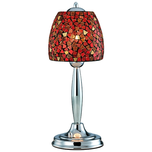 Lite Source Lighting Table Lamp with Red Glass in Polished Steel Finish LS-20485RED/MOS