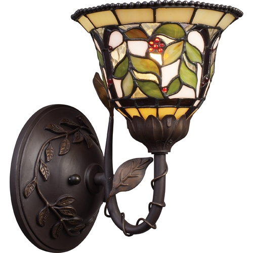 Elk Lighting Sconce with Tiffany Glass in Bronze Finish 08014-TBH