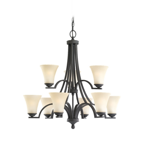 Sea Gull Lighting Chandelier with Beige / Cream Glass in Blacksmith Finish 31377-839