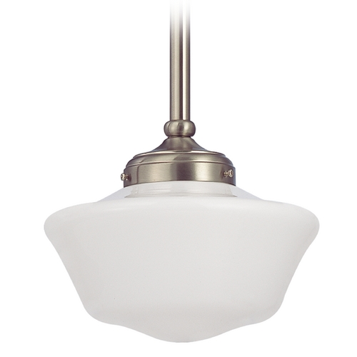 Design Classics Lighting 10-Inch Satin Nickel Period Lighting Schoolhouse Mini-Pendant Light FA4-09 / GA10