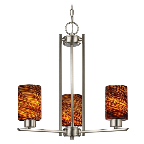 Design Classics Lighting Chandelier with Brown Art Glass in Satin Nickel - 3-Lights 1121-1-09 GL1023C
