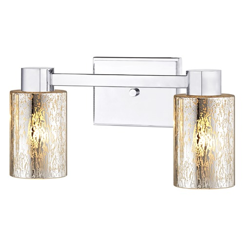 Design Classics Lighting 2-Light Mercury Glass Bathroom Light Chrome 2102-26 GL1039C