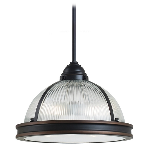 Sea Gull Lighting Pendant Light with Clear Glass in Autumn Bronze Finish 65061BLE-715