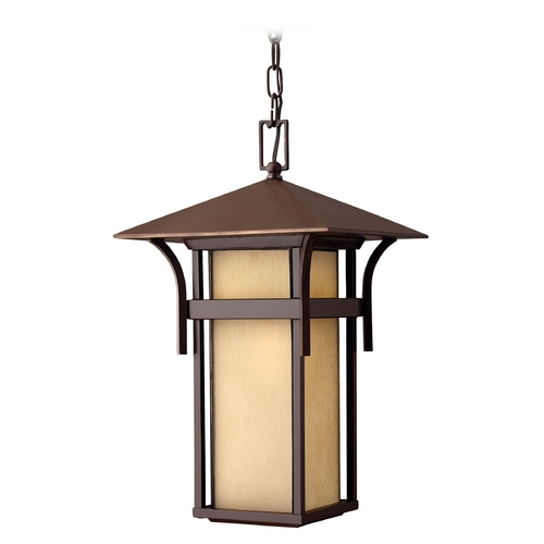 Hinkley Lighting Etched Amber Seeded Glass Outdoor Hanging Light Bronze Hinkley Lighting 2572AR-GU24