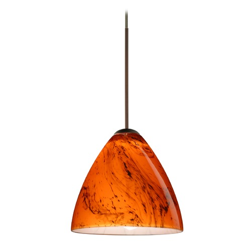 Besa Lighting Besa Lighting Mia Bronze LED Mini-Pendant Light with Bell Shade 1XT-1779HB-LED-BR