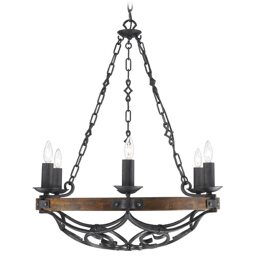 Golden Lighting Golden Lighting Madera Black Iron Chandelier 1821-6 BI