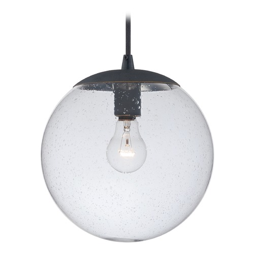 Vaxcel Lighting Black Iron Mini-Pendant Light Seeded Glass Globe Vaxcel Lighting P0163