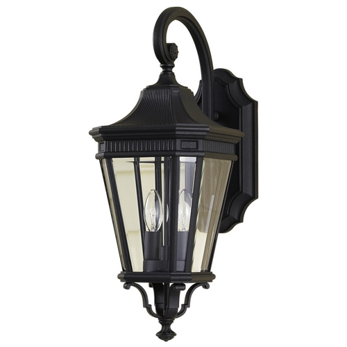 Feiss Lighting Outdoor Wall Light with Clear Glass in Black Finish OL5401BK
