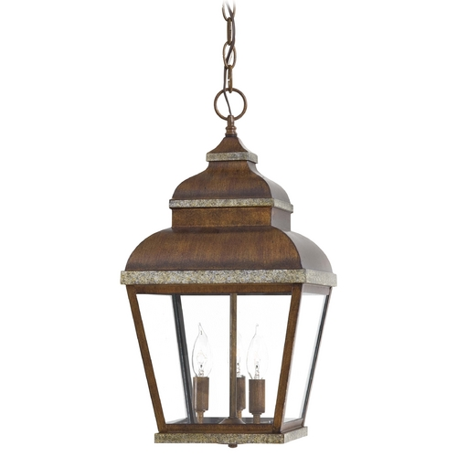 Minka Lavery Outdoor Hanging Light with Clear Glass in Mossoro Walnut W/silver Highlights Finish 8264-161