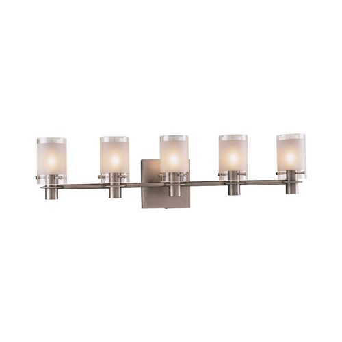 George Kovacs Lighting Modern Bathroom Light with White Glass in Antique Nickel Finish P5005-056