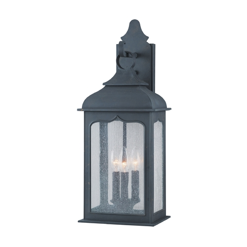 Troy Lighting Outdoor Wall Light with Clear Glass in Colonial Iron Finish B2012CI