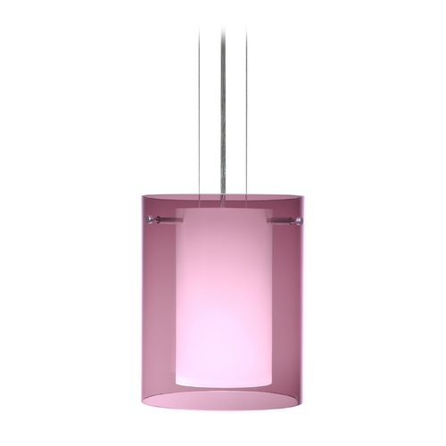 Besa Lighting Modern Pendant Light with Purple Glass in Satin Nickel Finish 1KG-A00607-SN