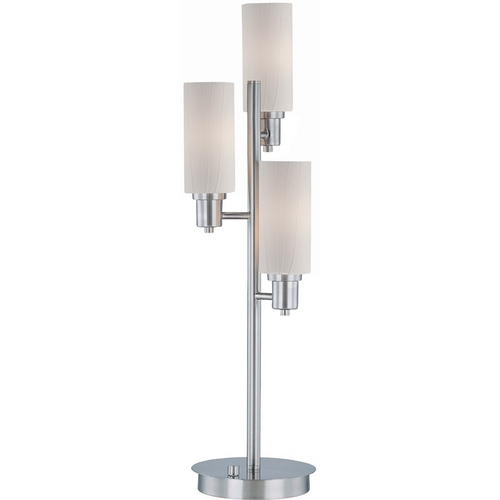 Lite Source Lighting Table Lamp with Brown Shade in Polished Steel Finish LS-21585PS/FRO