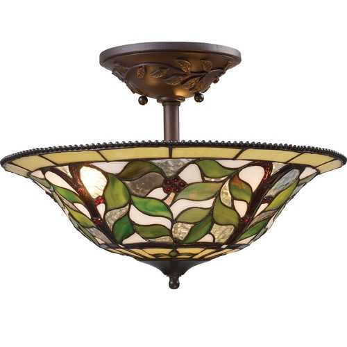 Elk Lighting Tiffany Semi-Flushmount Light in Bronze Finish 08015-TBH