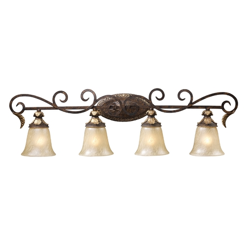 Elk Lighting Regency 4 Light Vanity In Burnt Bronze And Gold Leaf 2153/4