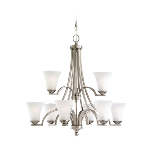 Sea Gull Lighting Sea Gull Lighting 9-Light Chandelier with White Glass in Antique Brushed Nickel 31377-965