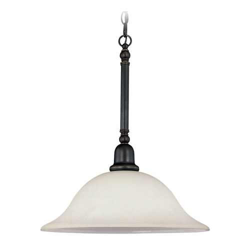 Sea Gull Lighting Pendant Light with White Glass in Heirloom Bronze Finish 66060-782
