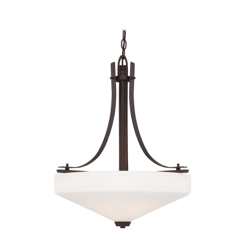 Minka Lighting Modern Pendant Light with White Glass in Artistic Bronze Finish 4322-577