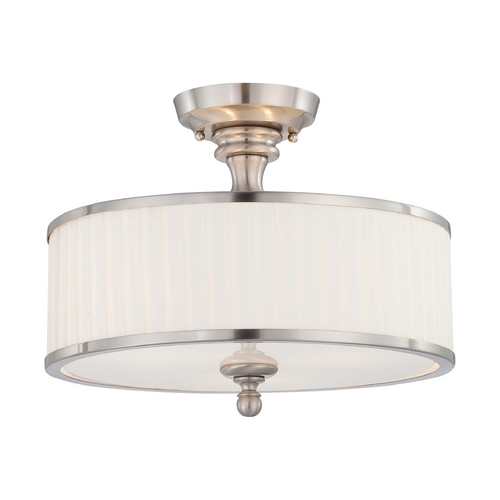 Nuvo Lighting Modern Semi-Flushmount Light with White Shades in Brushed Nickel Fini 60/4737