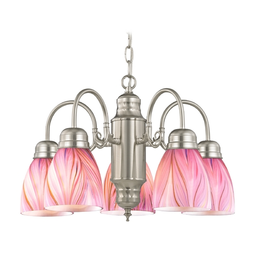 Design Classics Lighting Mini-Chandelier with Pink Art Glass in Satin Nickel Finish 709-09 GL1004MB