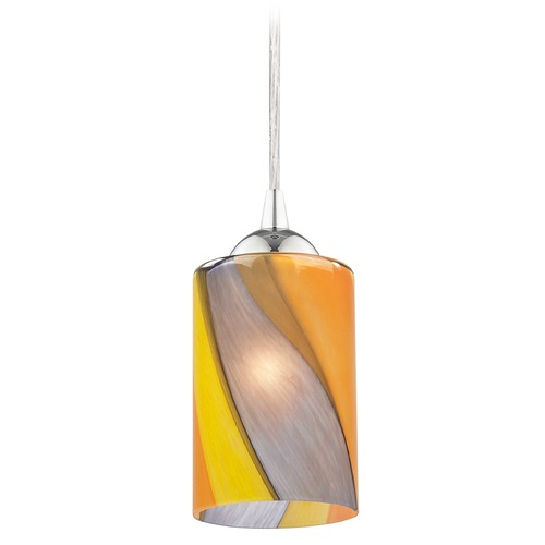 Design Classics Lighting Design Classics Gala Fuse Chrome LED Mini-Pendant Light with Cylindrical Shade 682-26 GL1015C
