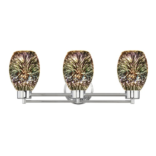 Design Classics Lighting Chrome Bathroom Light and 3-D Glass with Burst Pattern 703-26 GL1034-B