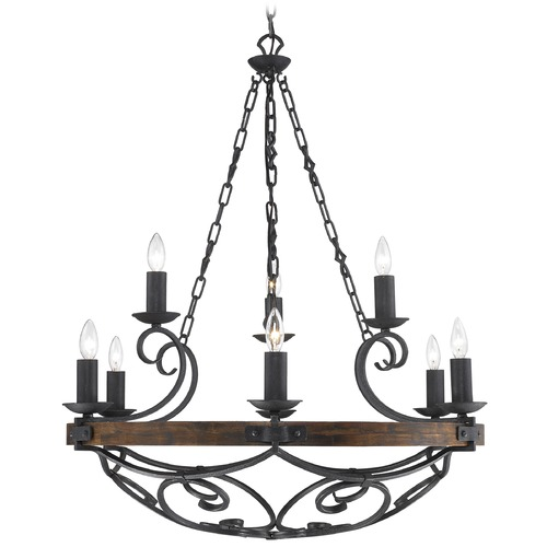 Golden Lighting Golden Lighting Madera 9-Light Chandelier in Black Iron Finish 1821-9 BI