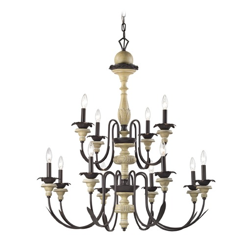 Elk Lighting Elk Lighting Channery Point Oil Rubbed Bronze, Aged Cream Chandelier 32221/8+4