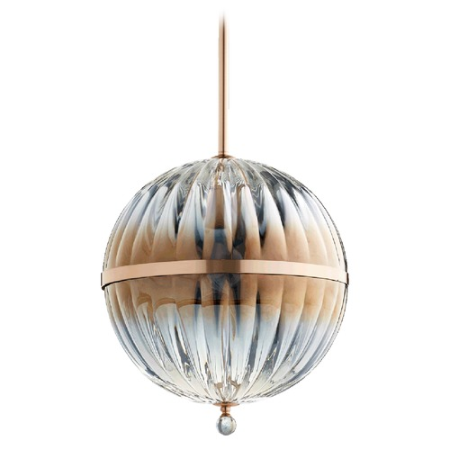 Quorum Lighting Quorum Lighting Brushed Copper Pendant Light with Globe Shade 683-14-19