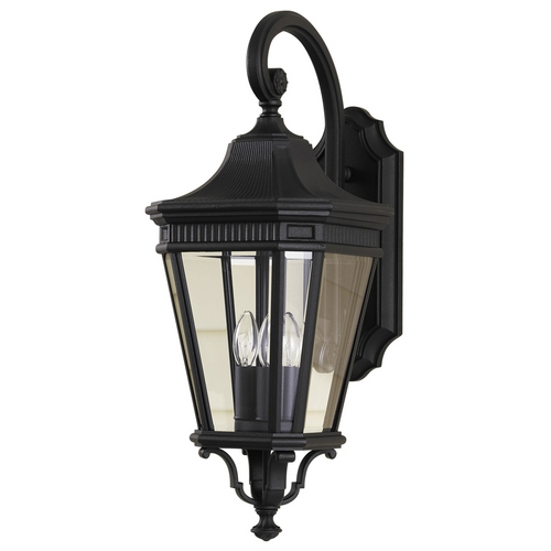 Home Solutions by Feiss Lighting Outdoor Wall Light with Clear Glass in Black Finish OL5402BK
