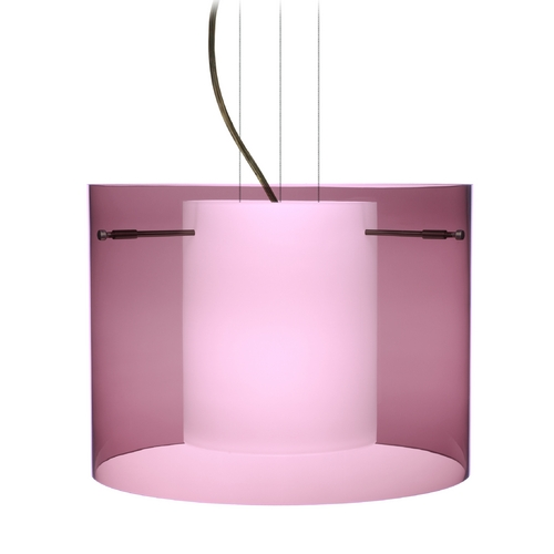 Besa Lighting Modern Pendant Light with Purple Glass in Bronze Finish 1KG-A00707-BR