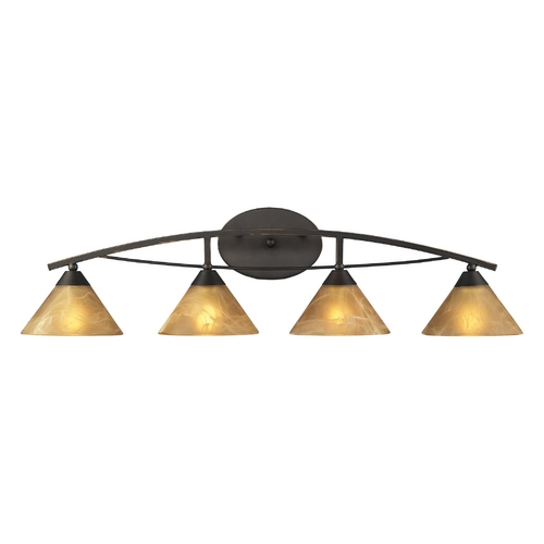 Elk Lighting Modern Bathroom Light with Beige / Cream Glass in Aged Bronze Finish 17029/4