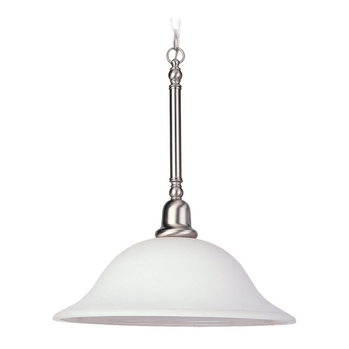 Sea Gull Lighting Pendant Light with White Glass in Brushed Nickel Finish 66060-962