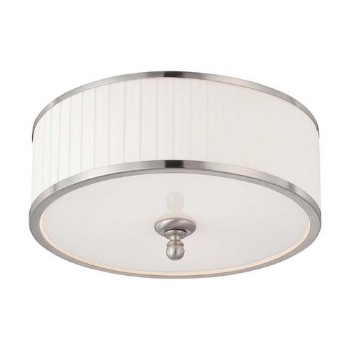 Nuvo Lighting Modern Flushmount Light with White Shade in Brushed Nickel Finish 60/4741