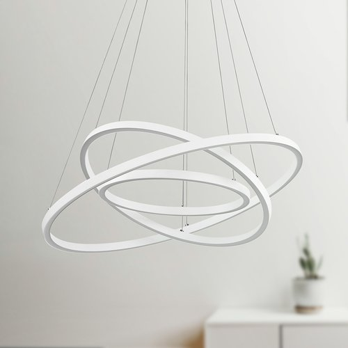 Design Classics Lighting Modern 32-Inch Triple Ring LED Pendant Light White Finish 1938-WH