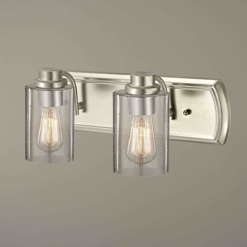 Design Classics Lighting Industrial Seeded Glass Bathroom Light Satin Nickel 2 Lt 1202-09 GL1041C