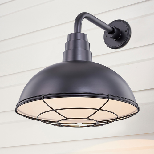 Recesso Lighting by Dolan Designs Black Gooseneck Barn Light with 16-Inch Caged Dome Shade BL-ARMD3-BLK/BL-SH16D/CG16S