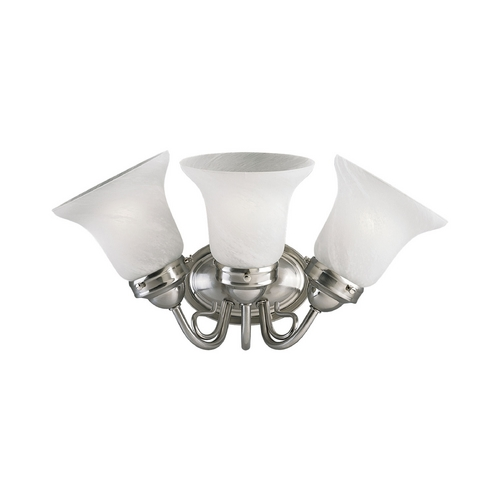 Progress Lighting Progress Bathroom Light with Alabaster Glass in Brushed Nickel Finish P3188-09EBWB