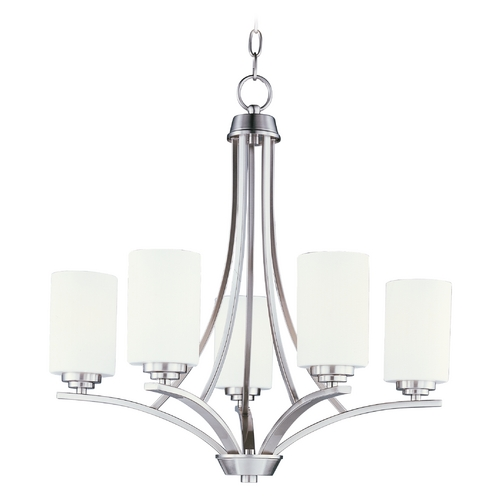 Maxim Lighting Modern Chandelier with White Glass in Satin Nickel Finish 20035SWSN