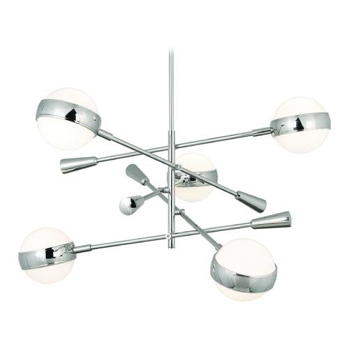 Robert Abbey Lighting Mid-Century Modern Chandelier Polished Nickel Jonathan Adler Ipanema by Robert Abbey S700