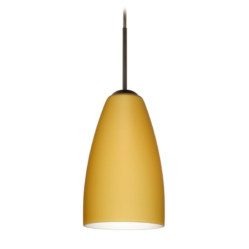 Besa Lighting Besa Lighting Riva Bronze LED Mini-Pendant Light with Oblong Shade 1JT-1511VM-LED-BR