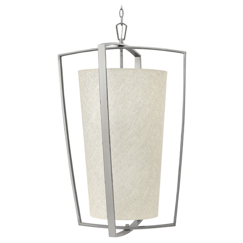 Hinkley Lighting Hinkley Lighting Blakely Brushed Nickel Pendant Light with Cylindrical Shade 3796BN
