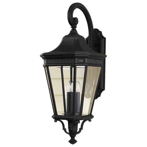 Feiss Lighting Outdoor Wall Light with Clear Glass in Black Finish OL5404BK