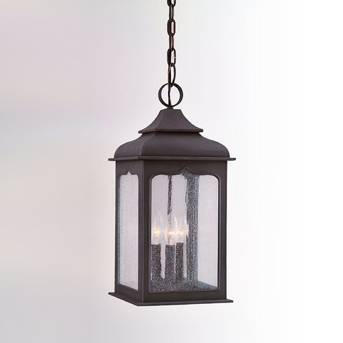 Troy Lighting Outdoor Hanging Light with Clear Glass in Colonial Iron Finish F2017CI