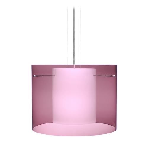 Besa Lighting Modern Pendant Light with Purple Glass in Satin Nickel Finish 1KG-A00707-SN